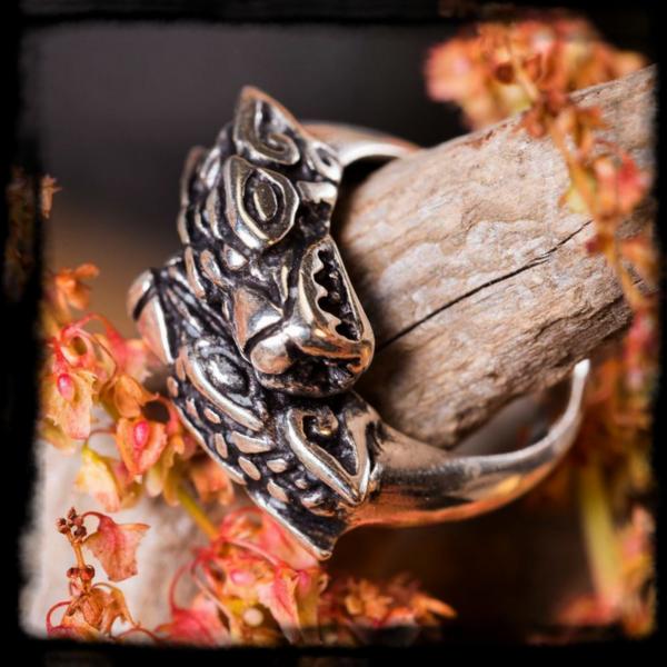 Strieborný prsteň Geri a Freki